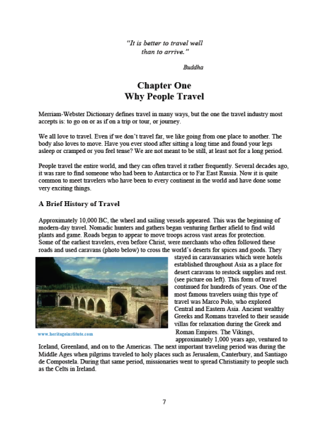 Chapter One, Why People Travel.